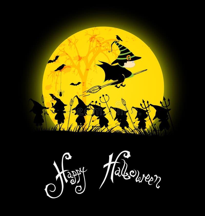 Dzieciaki bawić się na Halloween nocy ilustracji