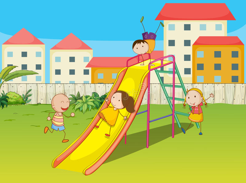 Dzieciaki bawić się na obruszeniu royalty ilustracja