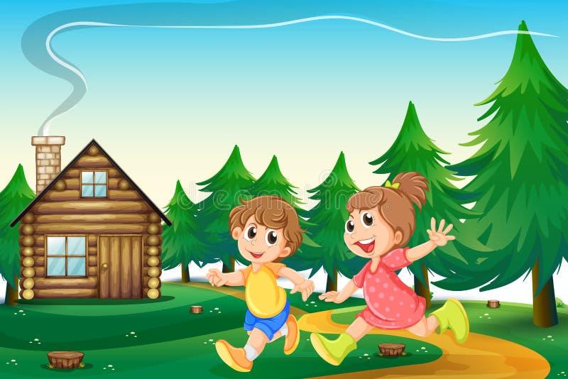 Dzieciaki bawić się na zewnątrz drewnianego domu przy szczytem ilustracji