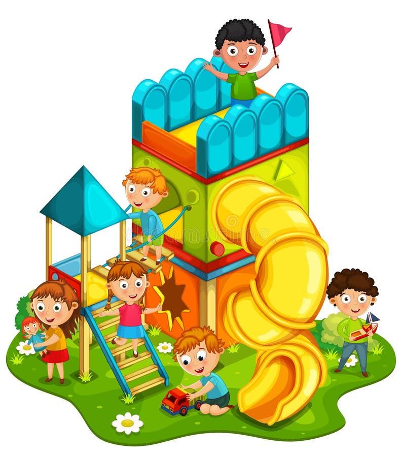 Dzieciaki bawić się przy parkiem royalty ilustracja