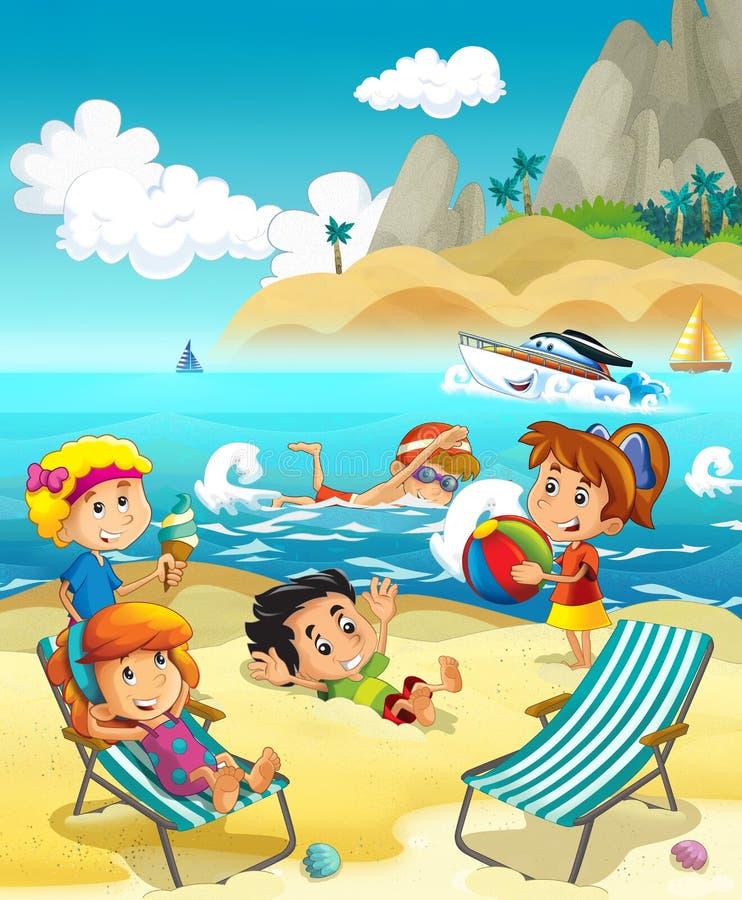 Dzieciaki bawić się przy plażą - morze ilustracji
