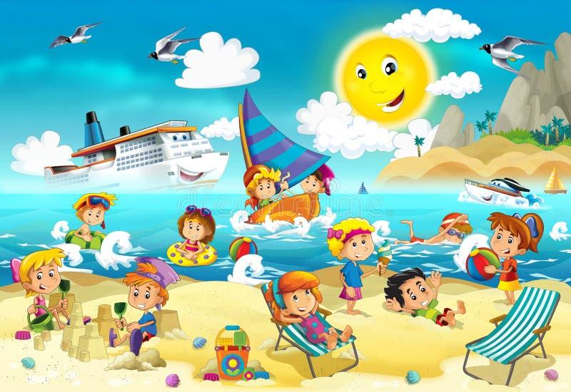Dzieciaki bawić się przy plażą - ocean ilustracji