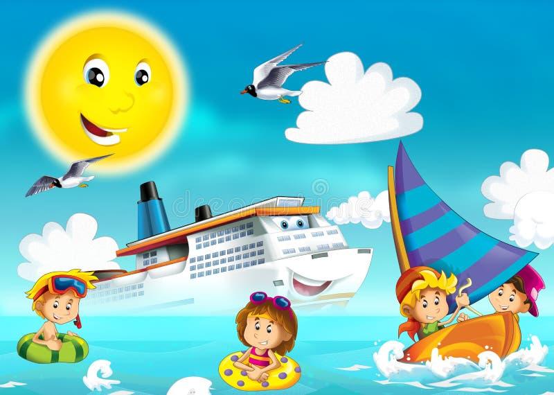Dzieciaki bawić się przy plażą - ocean ilustracja wektor
