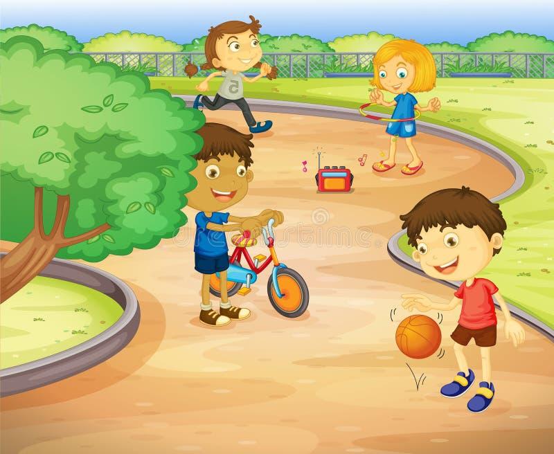 Dzieciaki bawić się w ogródzie ilustracji