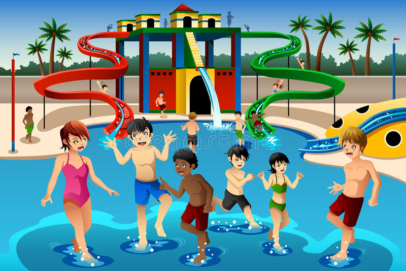 Dzieciaki bawić się w waterpark royalty ilustracja