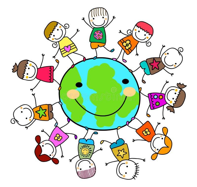 Dzieciaki bawić się wokoło ziemskiej planety ilustracja wektor