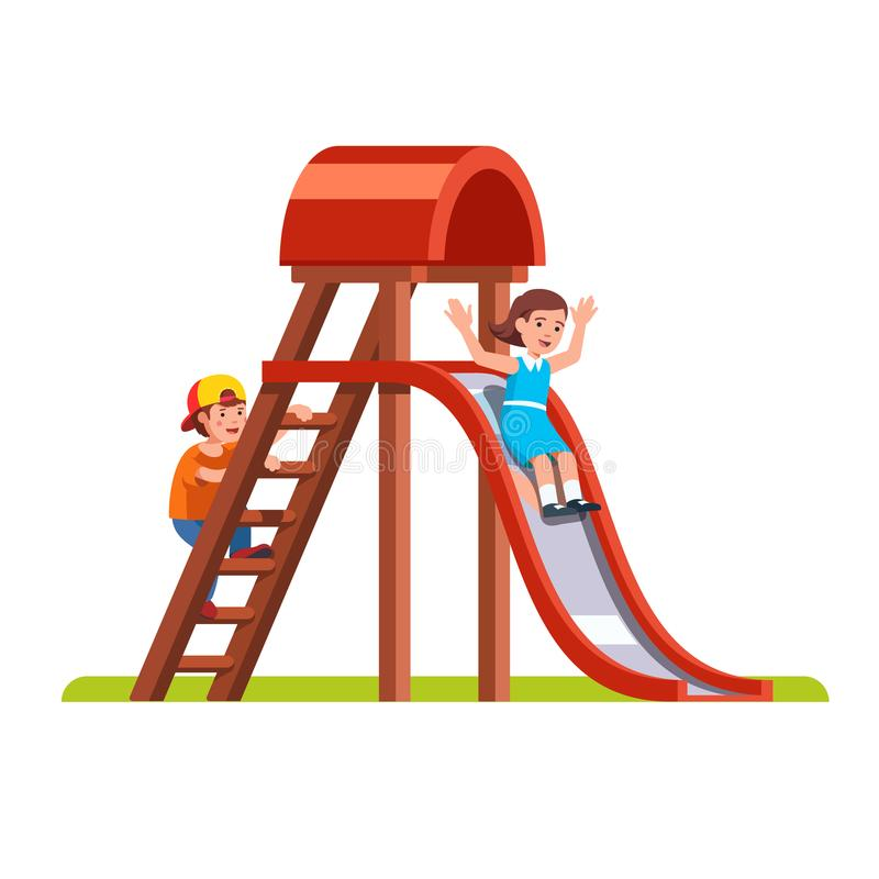 Dzieciaki bawić się wpólnie outside na parkowym boisku royalty ilustracja