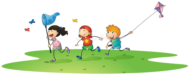 Dzieciaki bawić się z kaniami ilustracja wektor