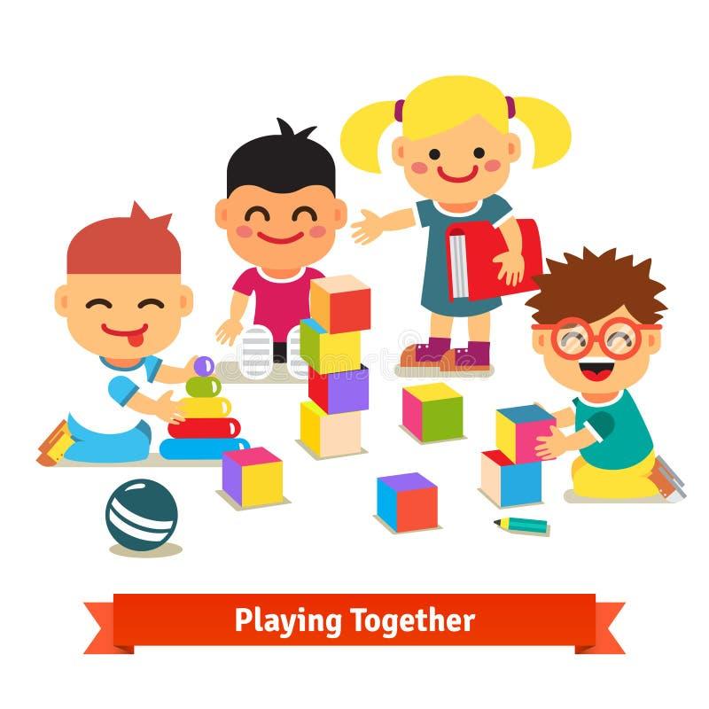 Dzieciaki bawić się z zabawkami w dziecina pokoju ilustracja wektor