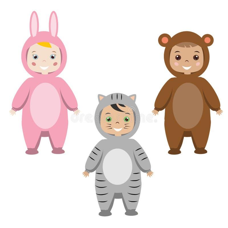Dzieciaki bawją się strój Dzieci w Zwierzęcych Karnawałowych kostiumach ilustracja wektor
