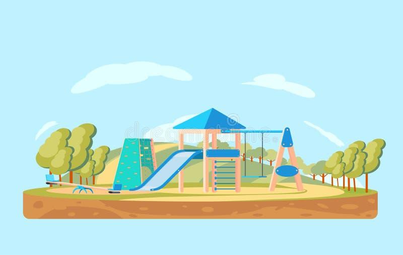 Dzieciaki boisko lub park Dziecko sztuki kompleks z huśtawką, obruszeniem i pięcie ścianą, zdjęcia stock