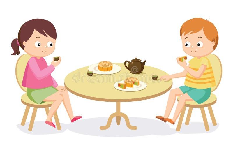 Dzieciaki cieszy się mooncake jesieni festiwalu W połowie wektor royalty ilustracja