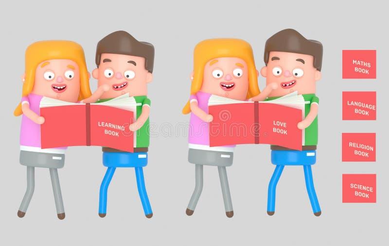 Dzieciaki czyta czerwieni książkę ilustracja 3 d royalty ilustracja