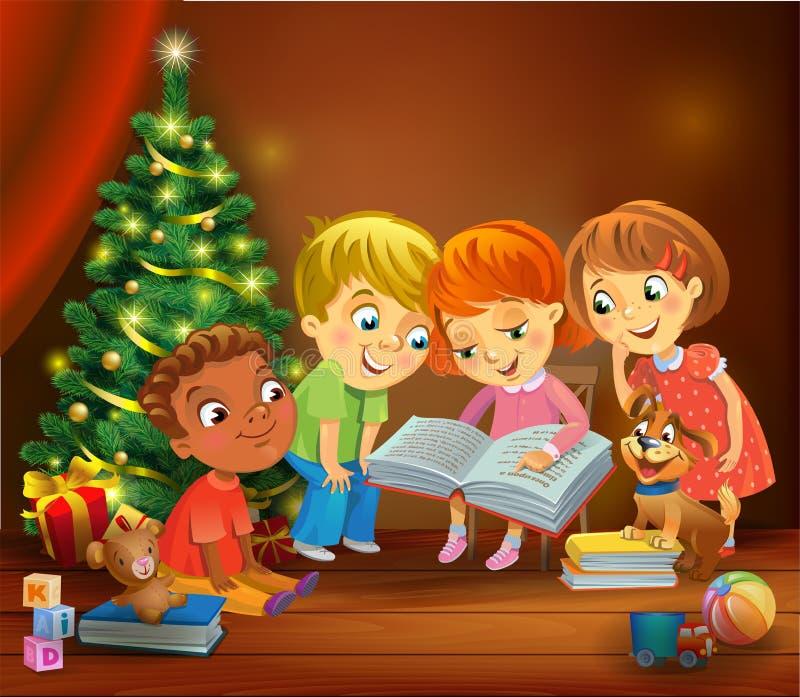 Dzieciaki czyta książkę obok choinki ilustracja wektor