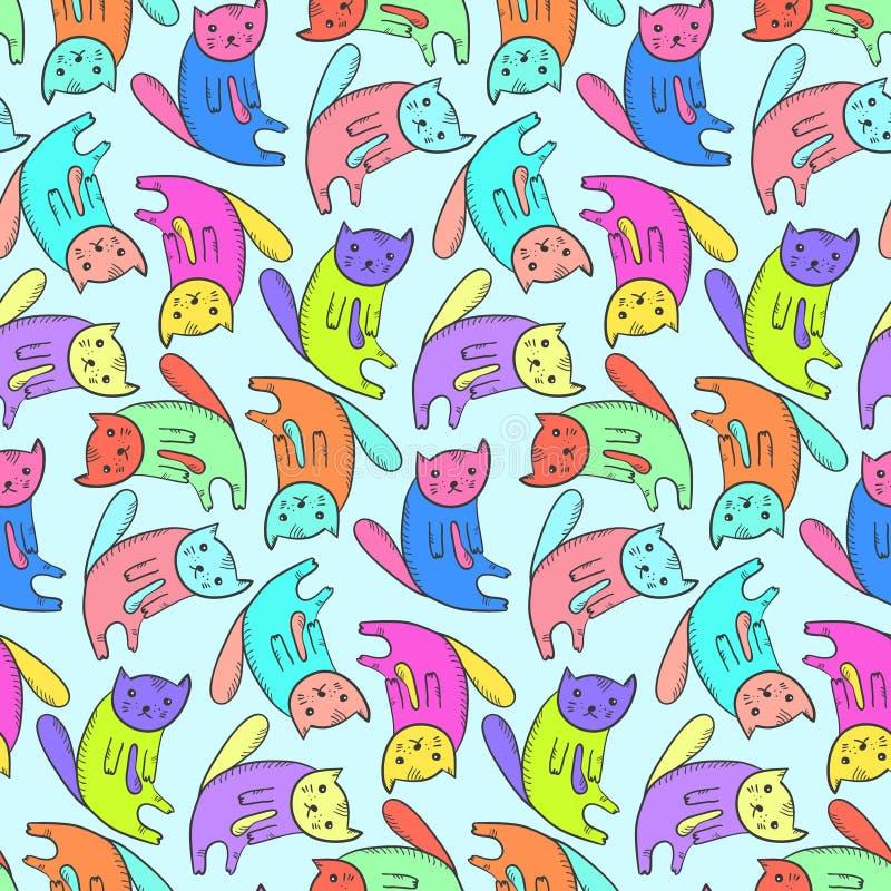 Dzieciaki deseniują z ślicznymi kolorowymi kotami ilustracja wektor