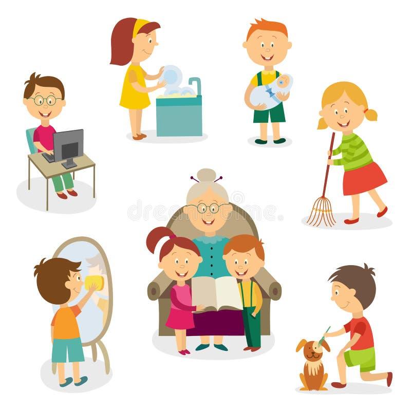 Dzieciaki, dzieci robi domowym aktywność, obowiązek domowy ilustracji
