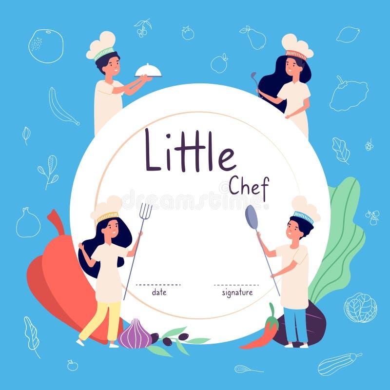 Dzieciaki gotują tło Dzieciaków kucharzów tło Dzieci w szefa kuchni kapeluszowym kulinarnym jedzeniu w kuchni Kulinarny wektorowy royalty ilustracja