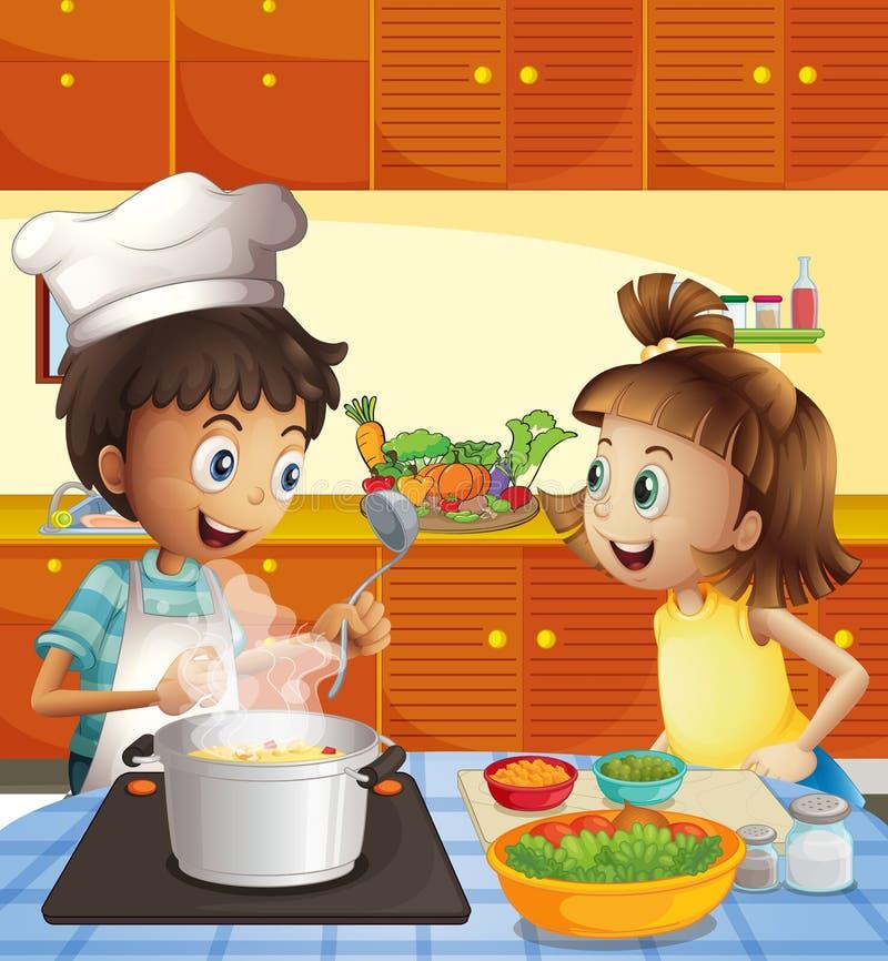 Dzieciaki gotuje przy kuchnią ilustracja wektor