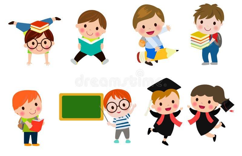 Dzieciaki iść szkoła szkoła, z powrotem, Śliczni kreskówek dzieci, szczęśliwi dzieci, Wektorowa ilustracja ilustracji