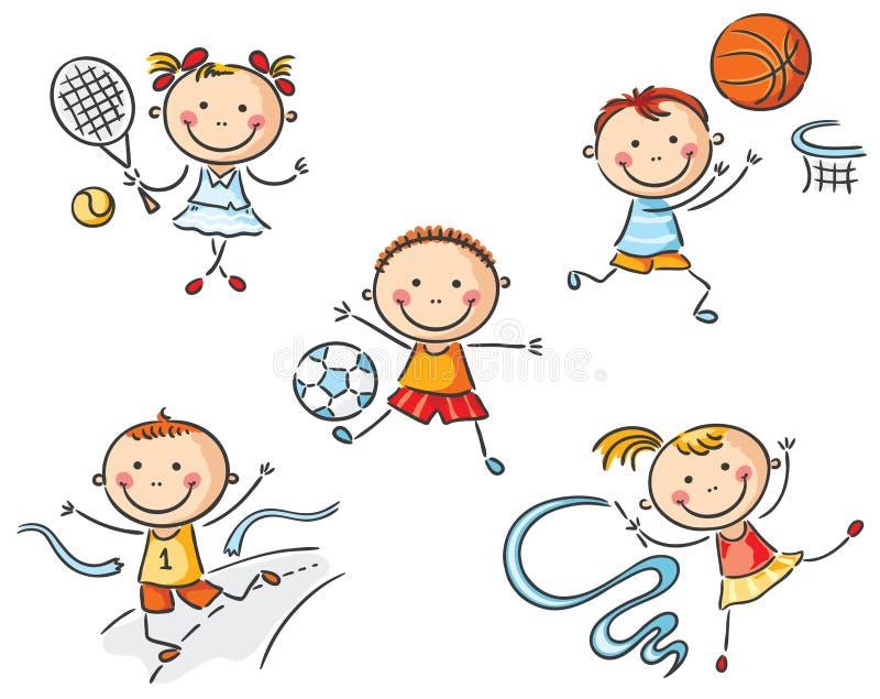 Dzieciaki iść wewnątrz dla sporta ilustracja wektor