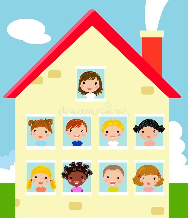 Dzieciaki i dom ilustracji