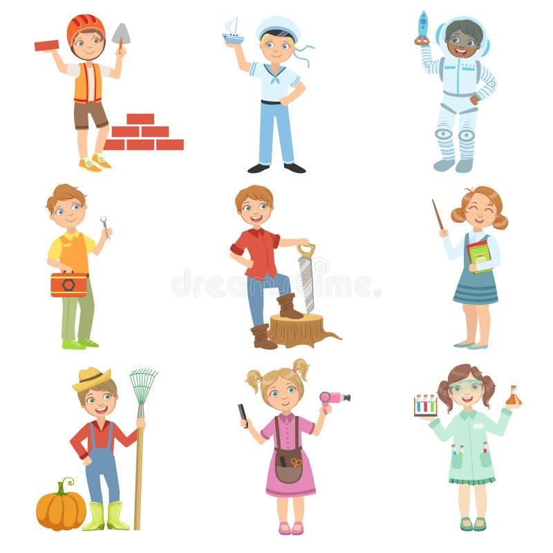 Dzieciaki I Ich Wymarzone pracy royalty ilustracja