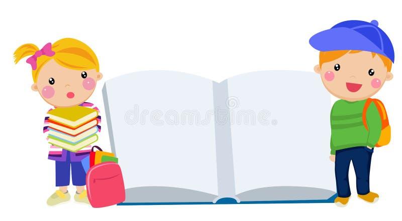 Dzieciaki i książka ilustracja wektor