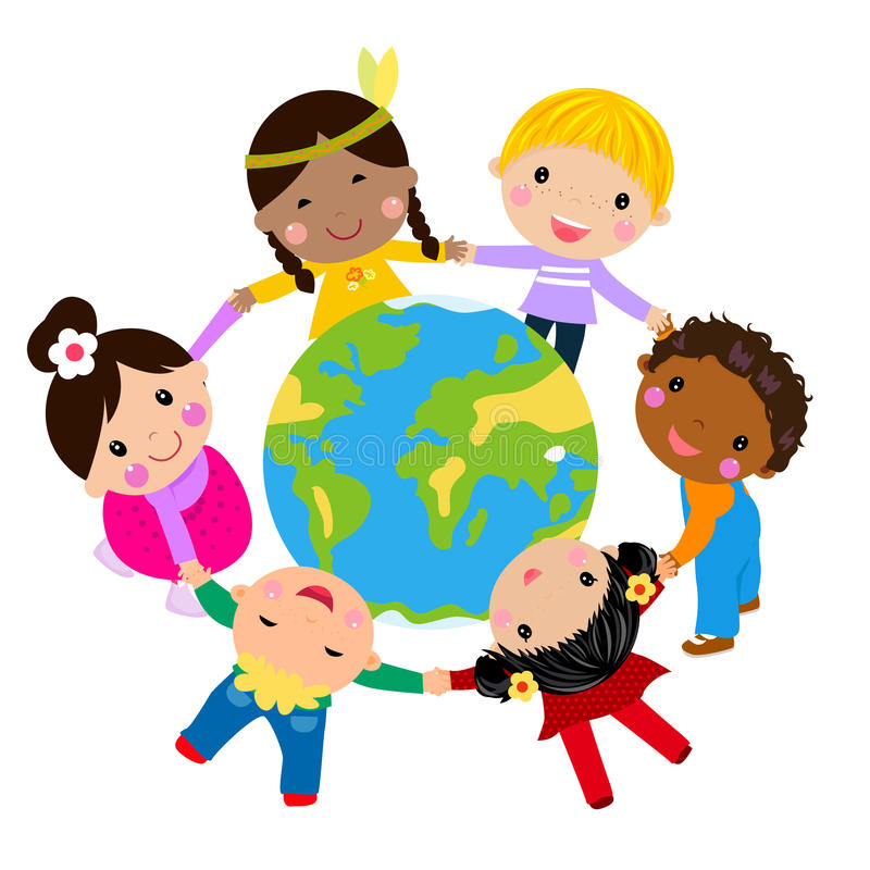 Dzieciaki i kula ziemska ilustracja wektor