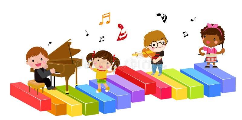 Dzieciaki i muzyka ilustracja wektor