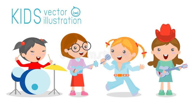 Dzieciaki i muzyka, wektorowa ilustracja cztery dziewczyna w muzycznym zespole royalty ilustracja