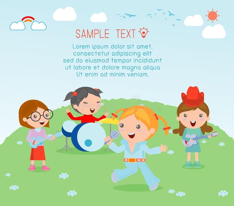 Dzieciaki i muzyka, wektorowa ilustracja cztery dziewczyna w muzycznym zespole, dzieci bawić się instrumenty muzycznych royalty ilustracja
