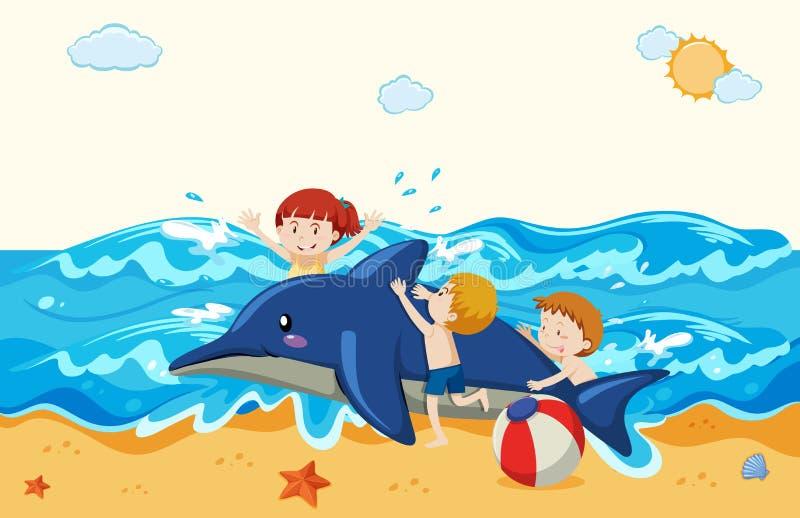 Dzieciaki i nadmuchiwany delfin przy plażą ilustracja wektor