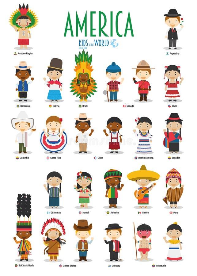 Dzieciaki i narodowości światowy wektor: Ameryka ilustracji