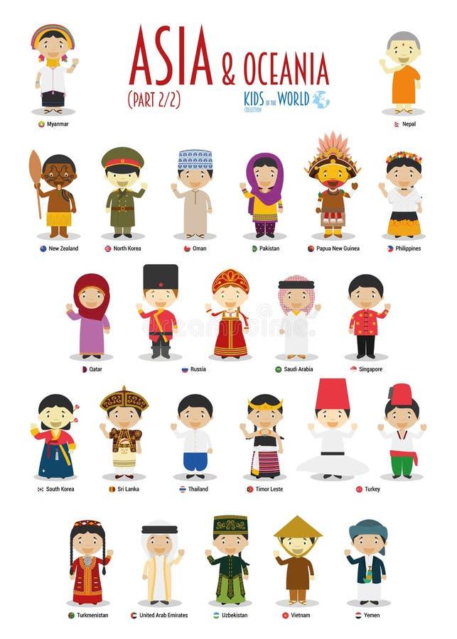 Dzieciaki i narodowości światowy wektor: Azja i Oceania Ustawiamy 2 2 royalty ilustracja