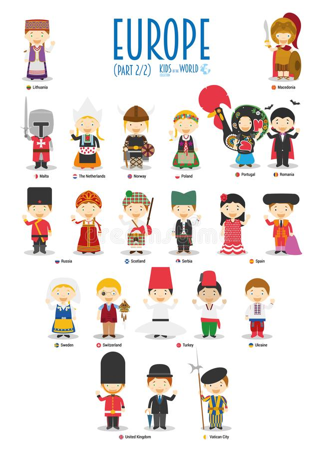 Dzieciaki i narodowości światowy wektor: Europa Ustawia 2 2 royalty ilustracja