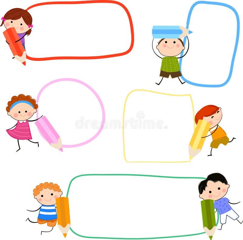 Dzieciaki i ołówek royalty ilustracja
