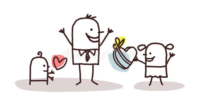 Dzieciaki i ojca dzień royalty ilustracja