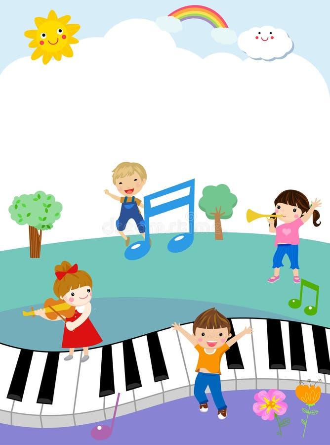 Dzieciaki i pianino ilustracji