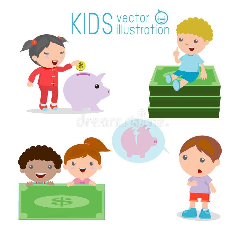 Dzieciaki i prosiątko bank, Children savings, ilustracja odosobniony Children oszczędzania pieniądze na białym tle, royalty ilustracja