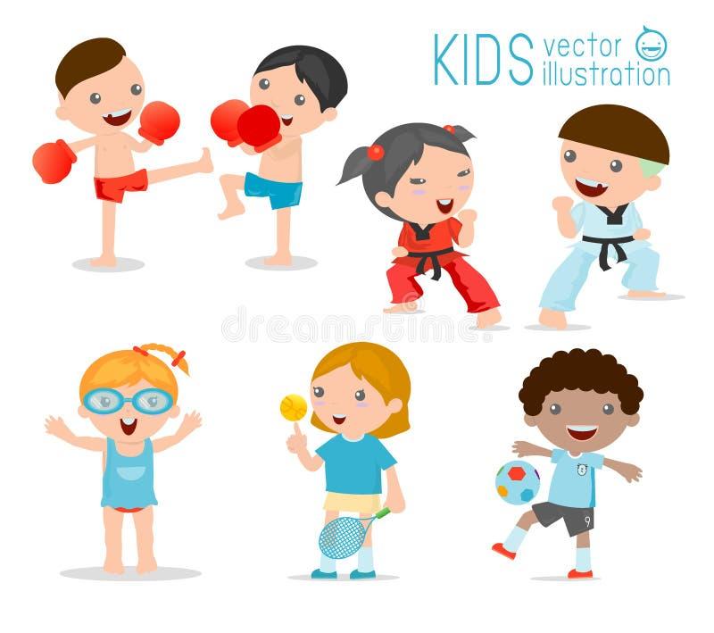 Dzieciaki i sport, dzieciaki bawić się różnorodnych sporty na białym tle, kreskówka dzieciaków sporty, boks, futbol, tenis, Taekw ilustracja wektor
