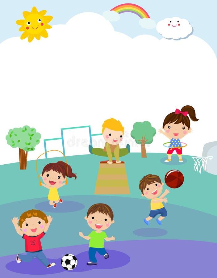 Dzieciaki i sporta boisko ilustracja wektor