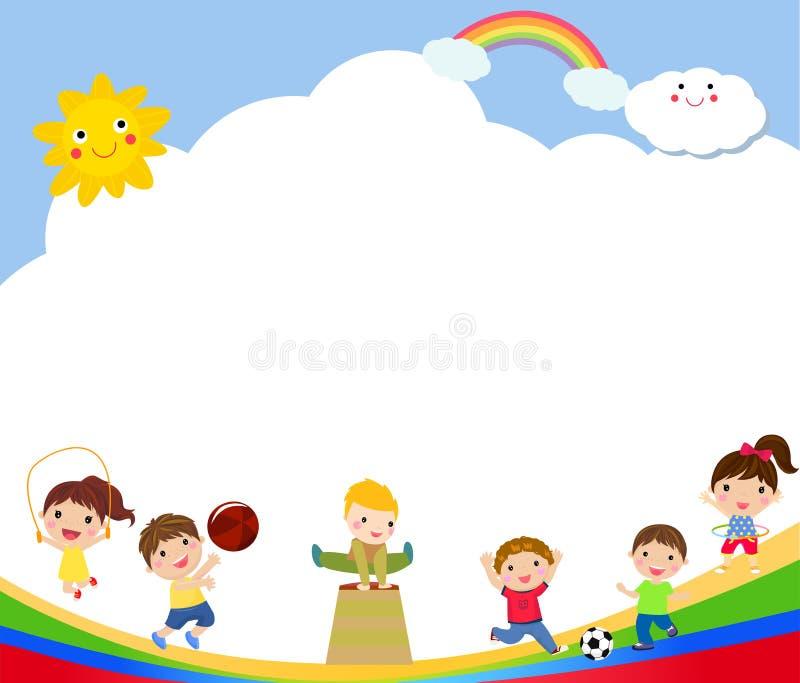 Dzieciaki i sporta boisko ilustracji