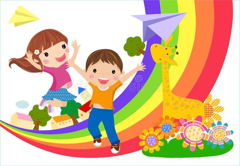 Dzieciaki i tęcza ilustracja wektor