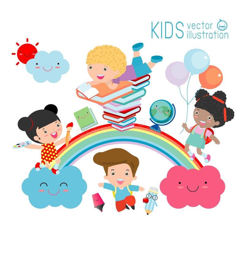 Dzieciaki i tęcza szkoła, Z powrotem, Różnorodni dzieciaki na tęczy, szkoła dzieciaki z tęczą ilustracji