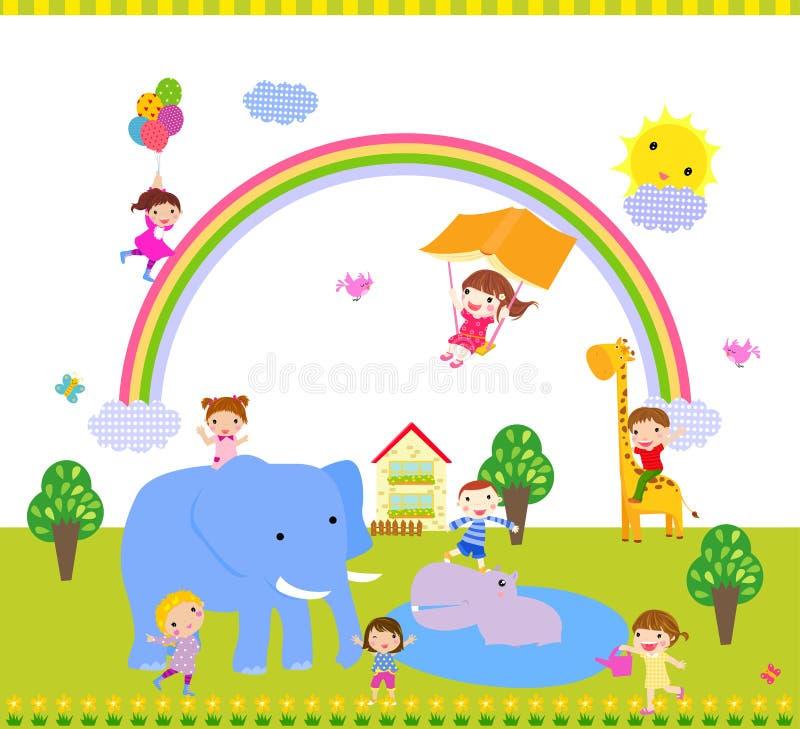Dzieciaki i zwierzę royalty ilustracja