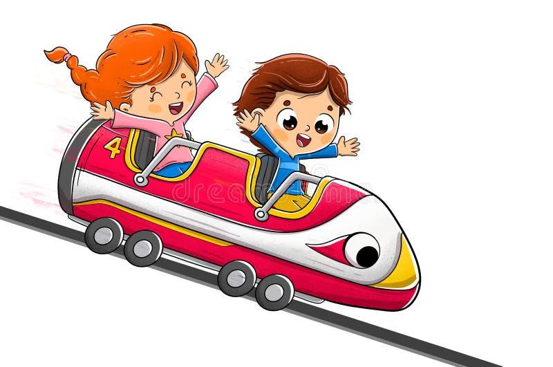 Dzieciaki jedzie kolejkę górską ma zabawę fotografia royalty free