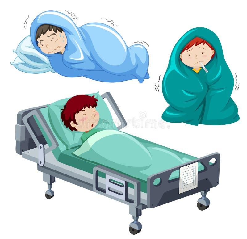 Dzieciaki jest chory w łóżku ilustracji