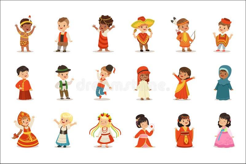Dzieciaki Jest ubranym Krajowych kostiumy Różni kraje Ustawiający Śliczne chłopiec I dziewczyny W Odziewają Reprezentować narodow ilustracja wektor