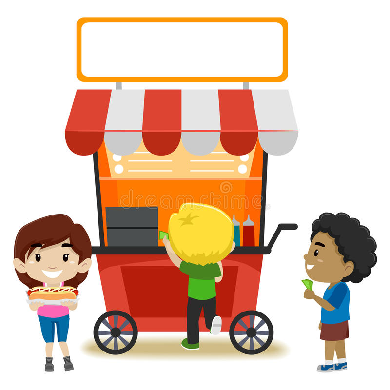 Dzieciaki Kupuje jedzenie przy jedzenie kramem royalty ilustracja