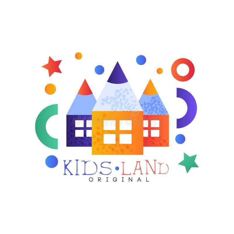 Dzieciaki lądują loga oryginał, kolorowego kreatywnie etykietka szablon, boisko lub rozrywki świetlicowej odznaki wektorową ilust ilustracja wektor